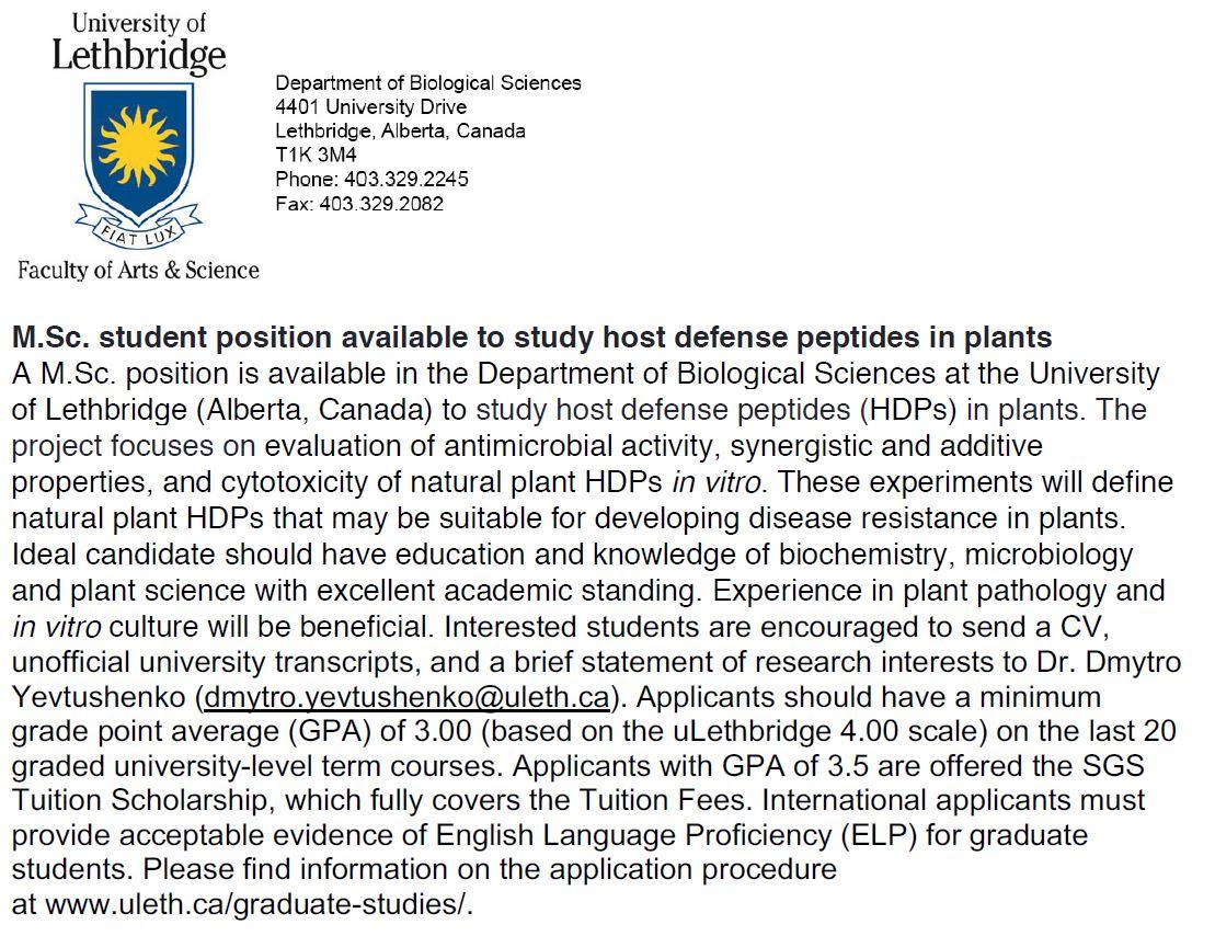2019 M.Sc. student position at the University of Lethbridge (Canada).JPG