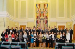 Награждение дипломами лауреатов ежегодной премии Президента Украины для молодых ученых 2011 года.